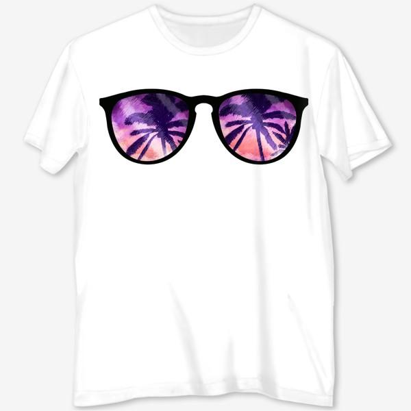Футболка с полной запечаткой «Лето. Солнечные очки. Пальмы»