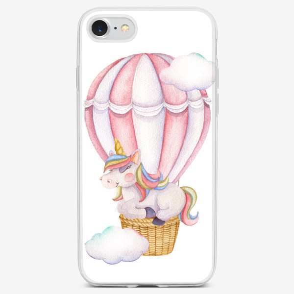 Чехол iPhone «Единорог на розовом шаре»
