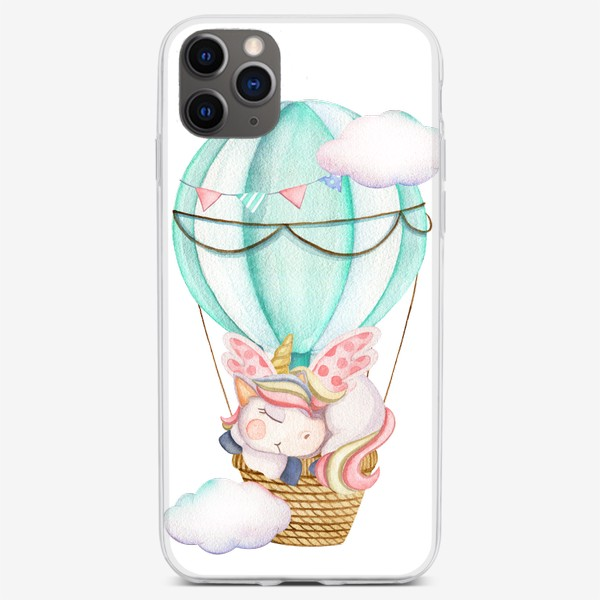 Чехол iPhone «Единорог на мятном шаре»