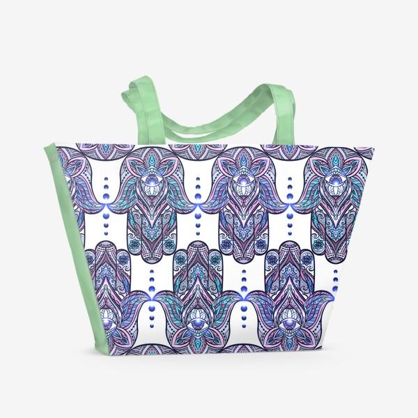 Пляжная сумка «Хамса с бохо узором»