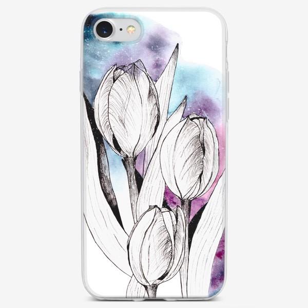 Чехол iPhone «Тюльпаны и космос»