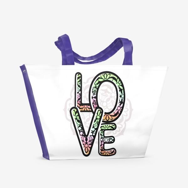 Пляжная сумка «Любовь. Надпись. Лето»