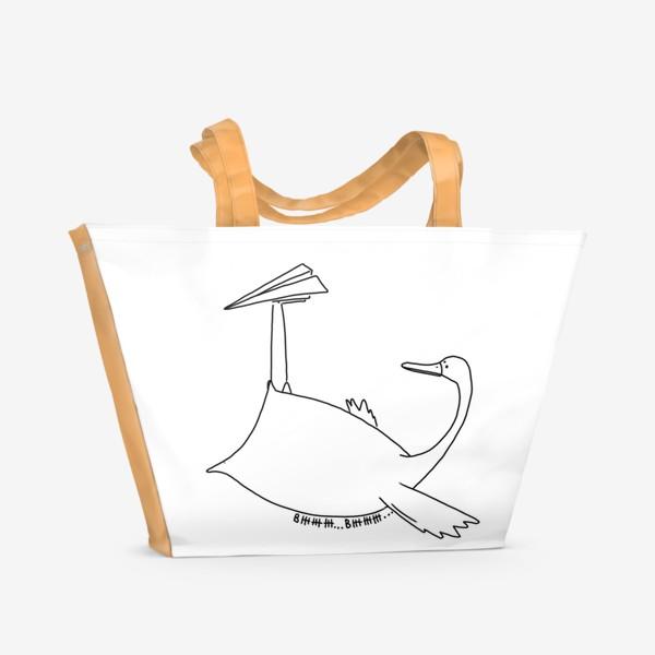 Пляжная сумка «Птица и самолетик. Вжжж»