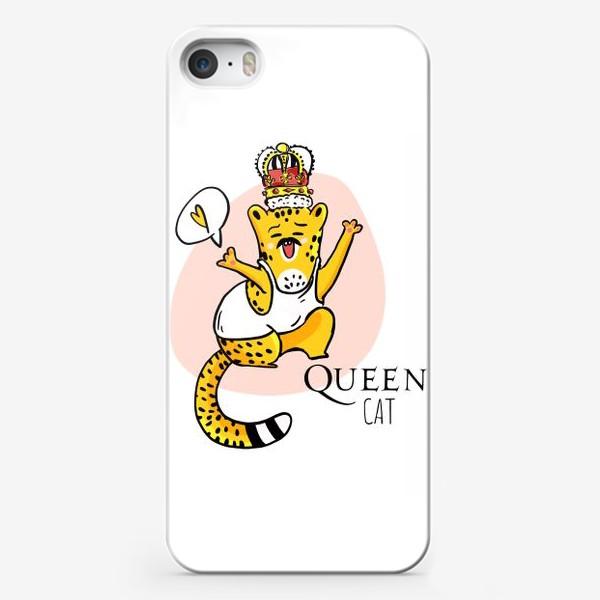 Чехол iPhone «Кот Queen Леопард Котики Король Музыка группа Квин Фанарт»