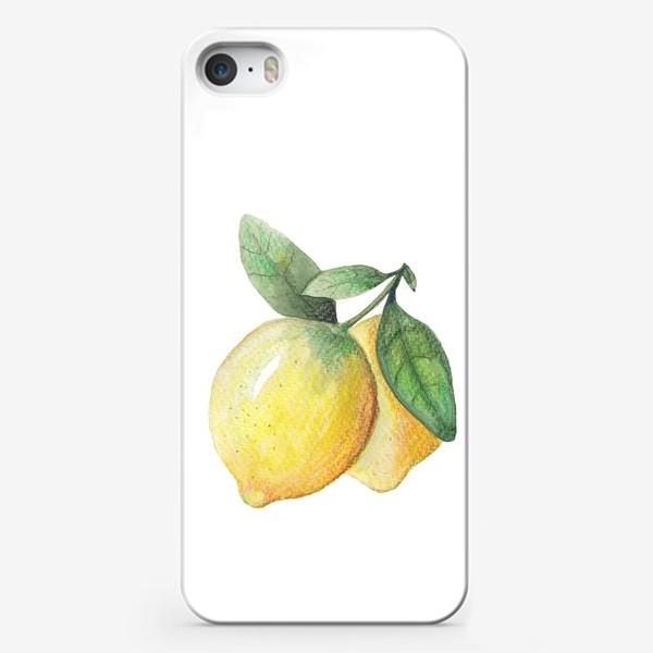 Чехол iPhone «Лимон на белом фоне»