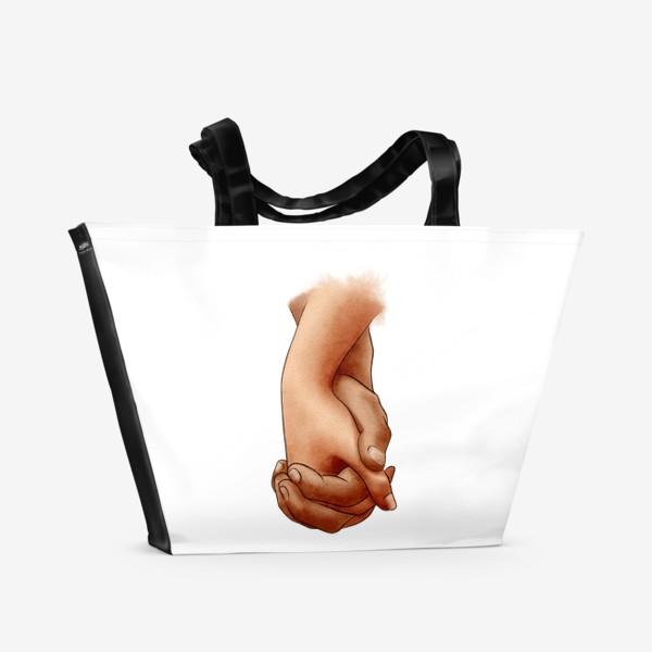 Пляжная сумка «Руки влюбленных, пара»