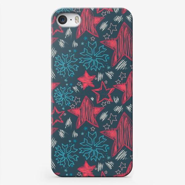 Чехол iPhone «Детский рисунок, снежинки и звезды»