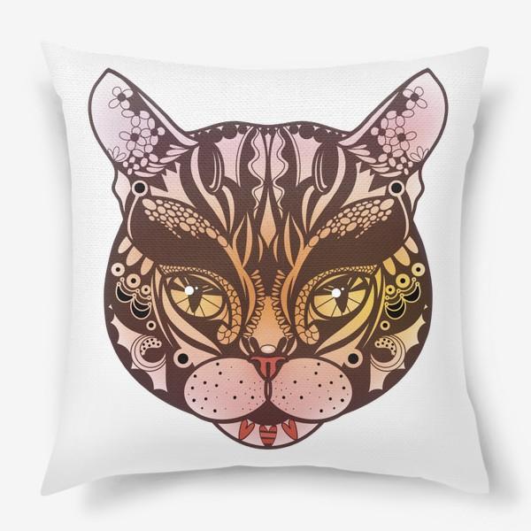 Подушка «Розово-желтый котик»