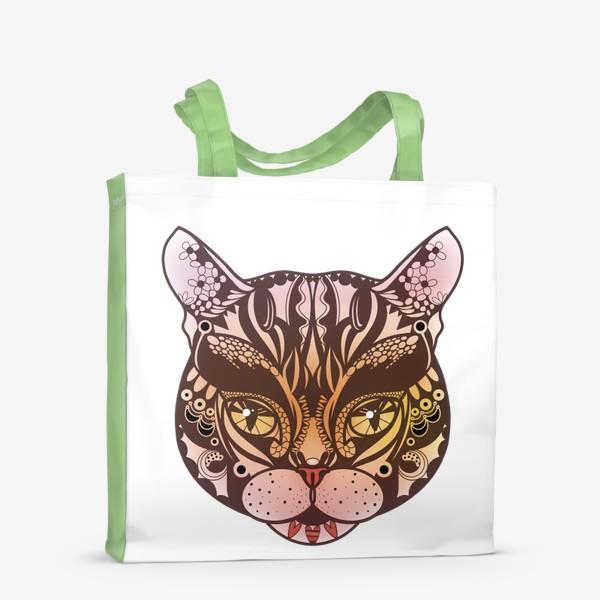 Сумка-шоппер «Розово-желтый котик»