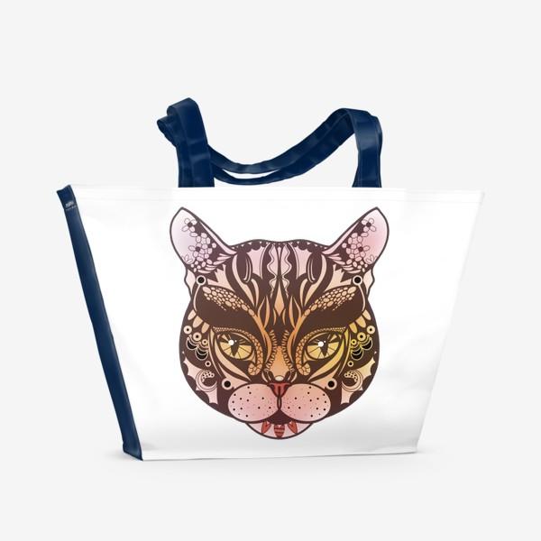 Пляжная сумка «Розово-желтый котик»