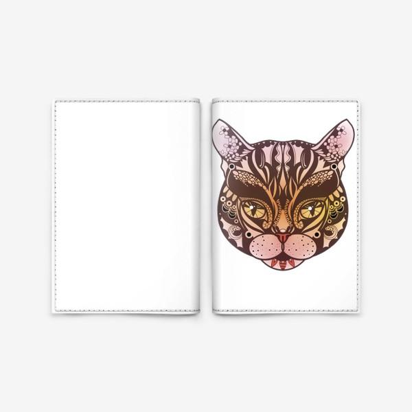 Обложка для паспорта «Розово-желтый котик»