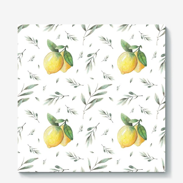 Холст «Лимон и оливковая ветвь на белом фоне»