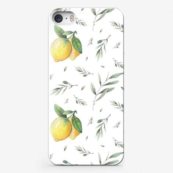 Чехол iPhone «Лимон и оливковая ветвь на белом фоне»