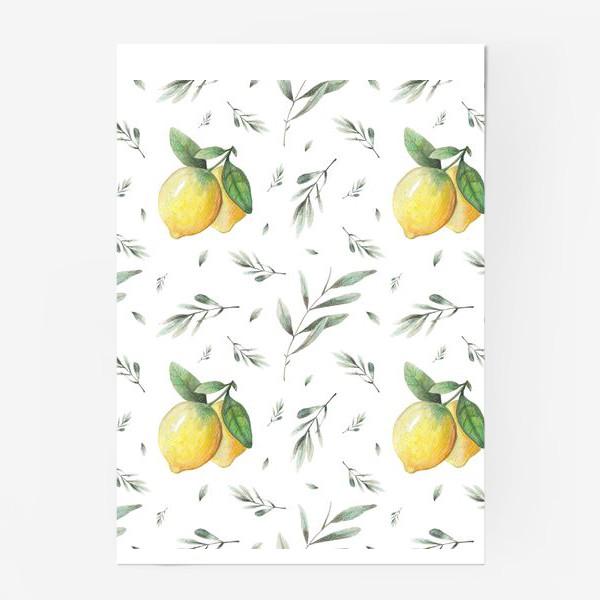 Постер «Лимон и оливковая ветвь на белом фоне»