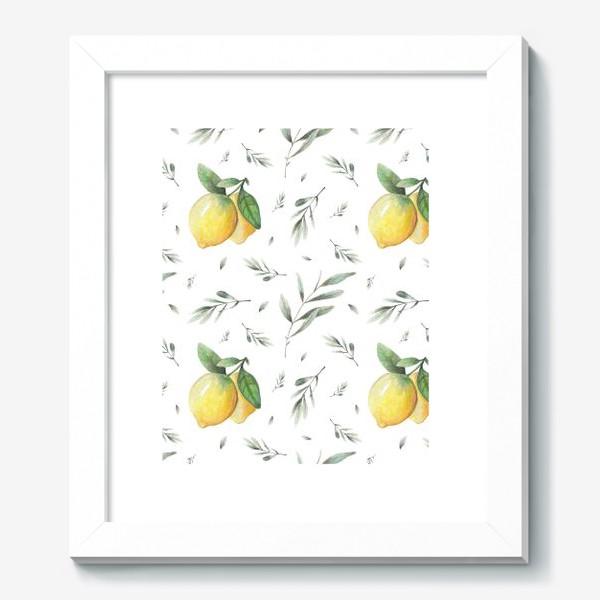 Картина «Лимон и оливковая ветвь на белом фоне»