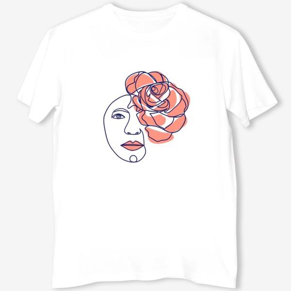 Футболка «Женщина-роза. Женский трендовый абстрактный портрет, непрерывная линия»