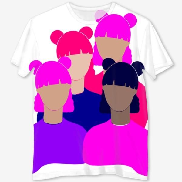 Футболка с полной запечаткой «Подруги, девушки, женщины, девочки. Феминизм. Girls power. Девичник. Стильный минимализм. Розовый, фиолетовый, синий.»