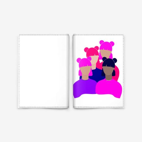 Обложка для паспорта «Подруги, девушки, женщины, девочки. Феминизм. Girls power. Девичник. Стильный минимализм. Розовый, фиолетовый, синий.»