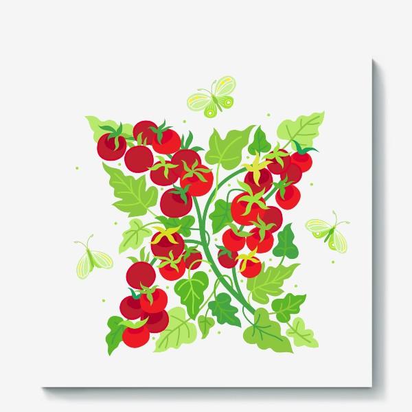Холст «Помидорки Черри и бабочки капустницы»