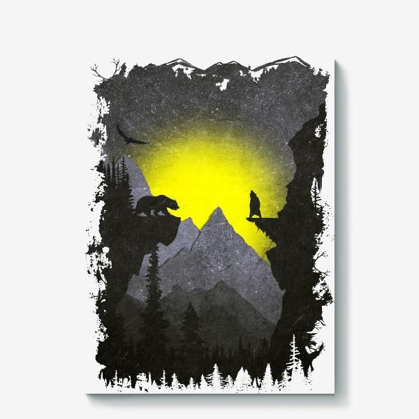 Холст «Bears and Owl»