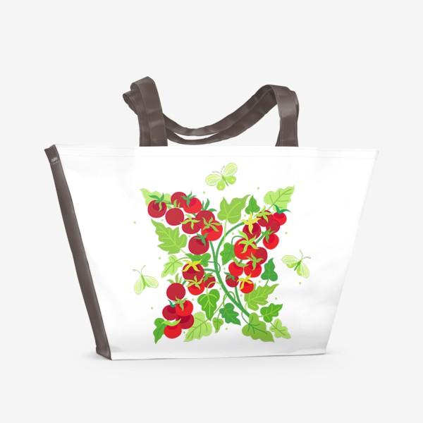 Пляжная сумка «Помидорки Черри и бабочки капустницы»