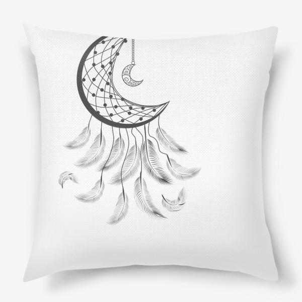 Подушка «Луна ловец снов с подвеской и летящими перышками»