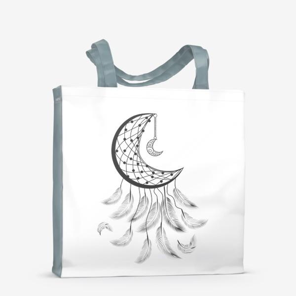 Сумка-шоппер «Луна ловец снов с подвеской и летящими перышками»
