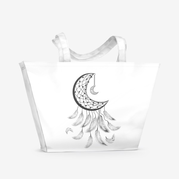Пляжная сумка «Луна ловец снов с подвеской и летящими перышками»