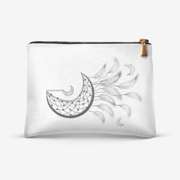 Косметичка «Луна ловец снов с подвеской и летящими перышками»