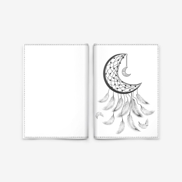 Обложка для паспорта «Луна ловец снов с подвеской и летящими перышками»