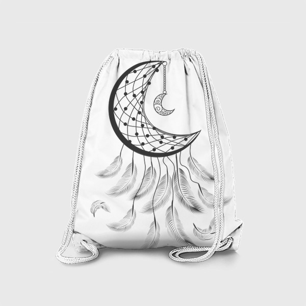 Рюкзак «Луна ловец снов с подвеской и летящими перышками»