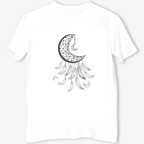 Футболка «Луна ловец снов с подвеской и летящими перышками»