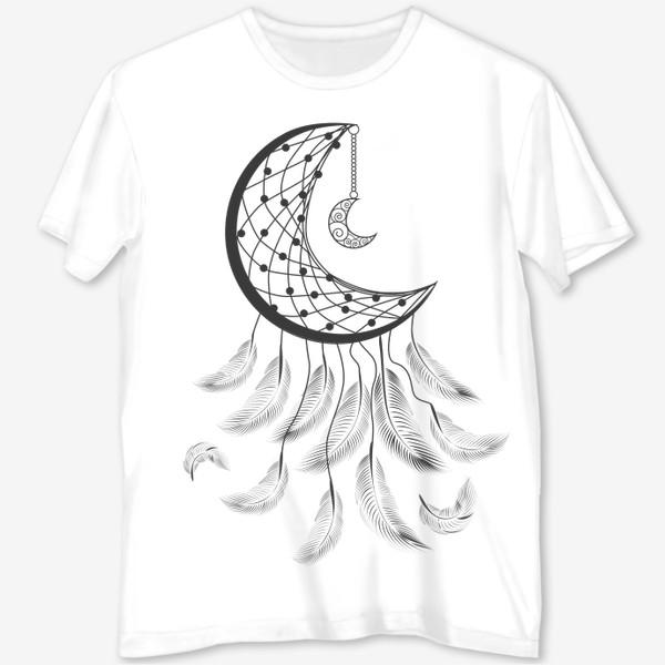Футболка с полной запечаткой «Луна ловец снов с подвеской и летящими перышками»