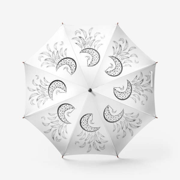 Зонт «Луна ловец снов с подвеской и летящими перышками»
