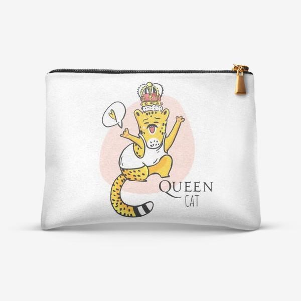 Косметичка «Кот Queen Леопард Котики Король Музыка группа Квин Фанарт»