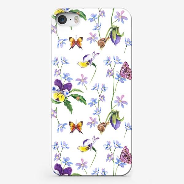 Чехол iPhone «Бабочки и цветы»