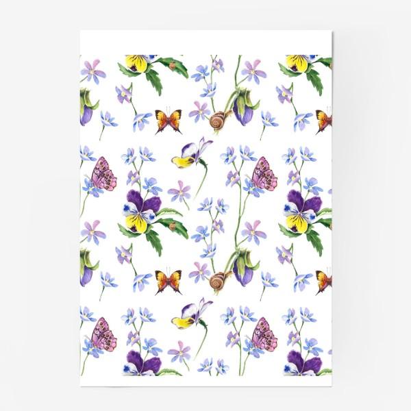 Постер «Бабочки и цветы»