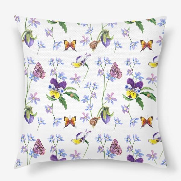 Подушка «Бабочки и цветы»