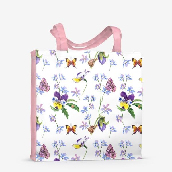 Сумка-шоппер «Бабочки и цветы»