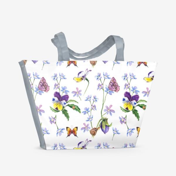 Пляжная сумка «Бабочки и цветы»