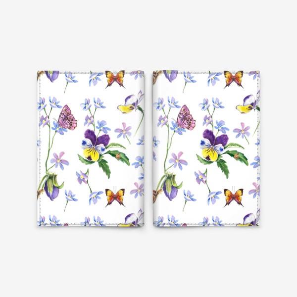 Обложка для паспорта «Бабочки и цветы»