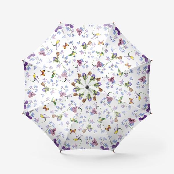 Зонт «Бабочки и цветы»
