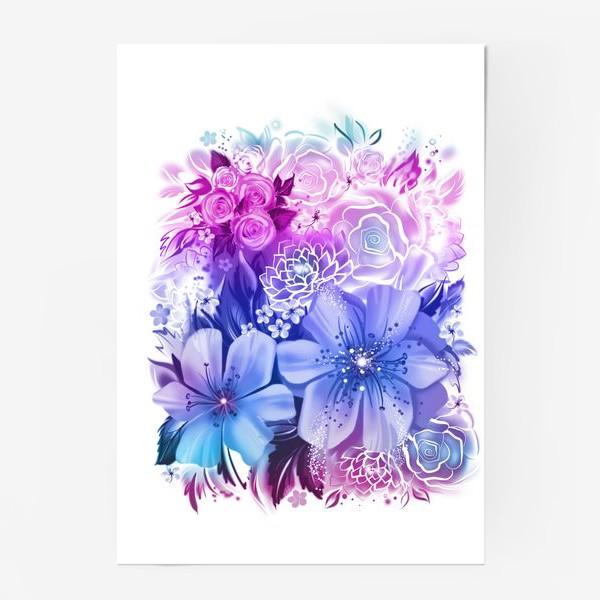 Постер «Голубой букет с розами и ромашками»