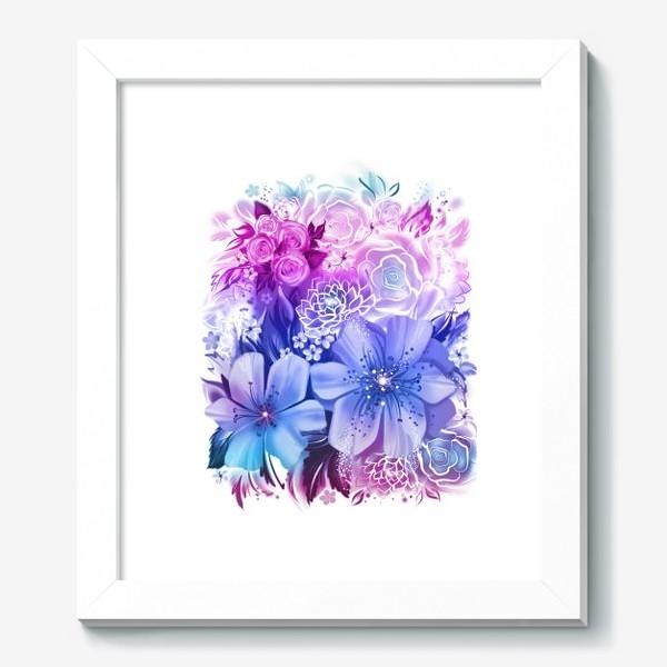 Картина «Голубой букет с розами и ромашками»