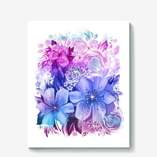 Холст «Голубой букет с розами и ромашками»