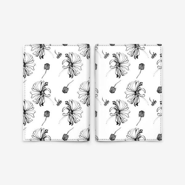 Обложка для паспорта «Монохромные ромашки»