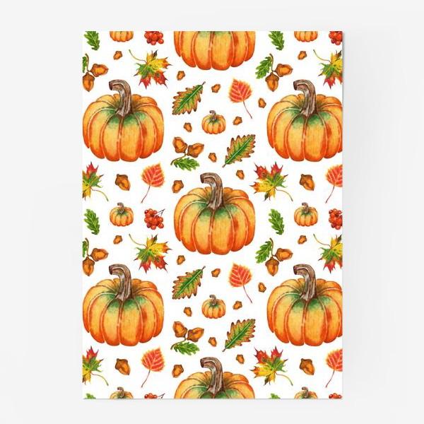 Постер «Паттерн тыквы и осенние листья»