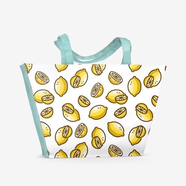 Пляжная сумка «Лимонный бесшовный паттерн»