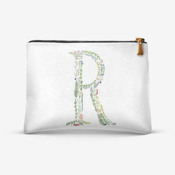 Косметичка «Буква R из веточек, листиков, ягод и цветов.»