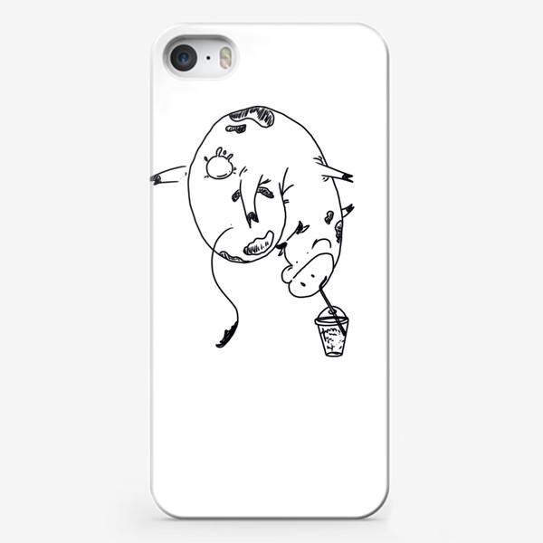 Чехол iPhone «Корова пьет молочный коктейль. Непереносимость лактозы»